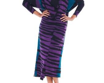 1980s Vintage Junko Koshino Wild Blue and Purple Dress Size: M/L