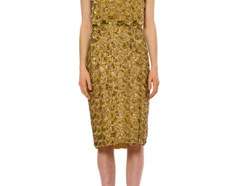 1960s Vintage Glorious Gold Bead Encrusted Sleeveless Dress  Size: XS/S