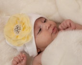 Infant White Beanie Hat Baby Girl Beanie Hat with Chiffon Flower with Pearl and Rhinestone Center