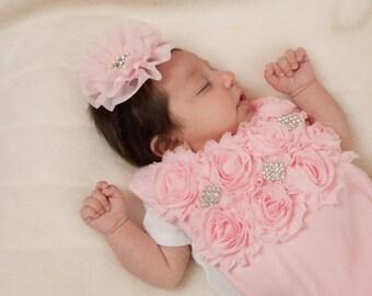 Pink Bib Baby Girl Bib with Chiffon and Rhinestones