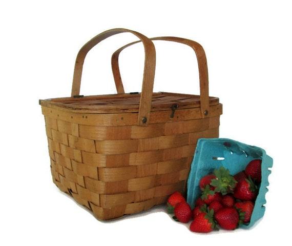 Wooden Picnic Basket Set : Vintage wooden pie picnic basket split oak woven bent wood