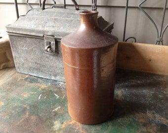 1800s French Stoneware Bottle Jug Jar Extra Large 10,5 inch Bud Vase