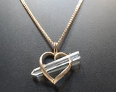 """Natural  Crystal Quartz Point Sterling Silver Heart 26"""" Chain Necklace"""