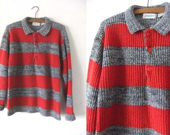 Chunky Knit Rugby Style Striped Sweater - 90s Preppy Ivy League Charcoal & Red Collared Jumper - Mens Medium