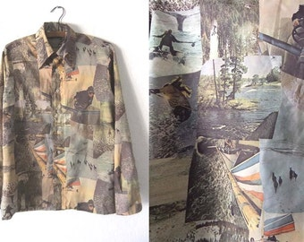 Outdoor Adventures Photo Print 70s Button Down - Digital Graphic Novelty Print Long Sleeve Disco Shirt - Mens Small
