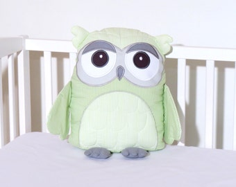 Handmade Large Owl Pillow, Plush Stuffed  Owl, Gray and Green