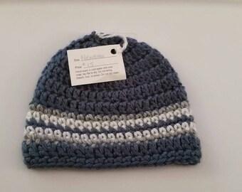 Blue Heather Crocheted Newborn Hat