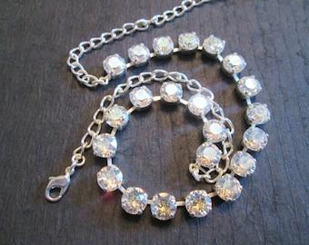 Bridesmaid Necklace/Crystal Moonlight Swarovski Necklace/ Statement Necklace/ Crystal Necklace/ Crystal Tennis Necklace/Wedding Necklace
