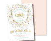 PINK MINT GOLD confetti oh what fun! first birthday invitation pink gold glitter champagne blush aqua spirnkles birthday party invitation