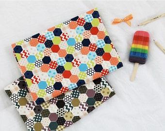 Hexagon Oxford Cotton Fabric - Green or Orange - Geometric Pattern - By the Yard 73544