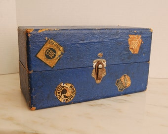 Vintage Blue Doll Case with Decals
