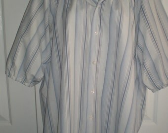 Peasant Blouse upcycled from a men's shirt. 56 inch xxL, white with blue stripes