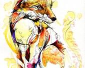 "Fox Flow- 8.5""x11"" Fine Art Print of Original Ink Watercolor Painting"