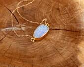 Druzy Freeform Electroplated Necklace light blue crystal quartz gold fill boho