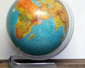 Vintage World Globe Mid Century Replogle World Horizon Globe Clear Acrylic Stand