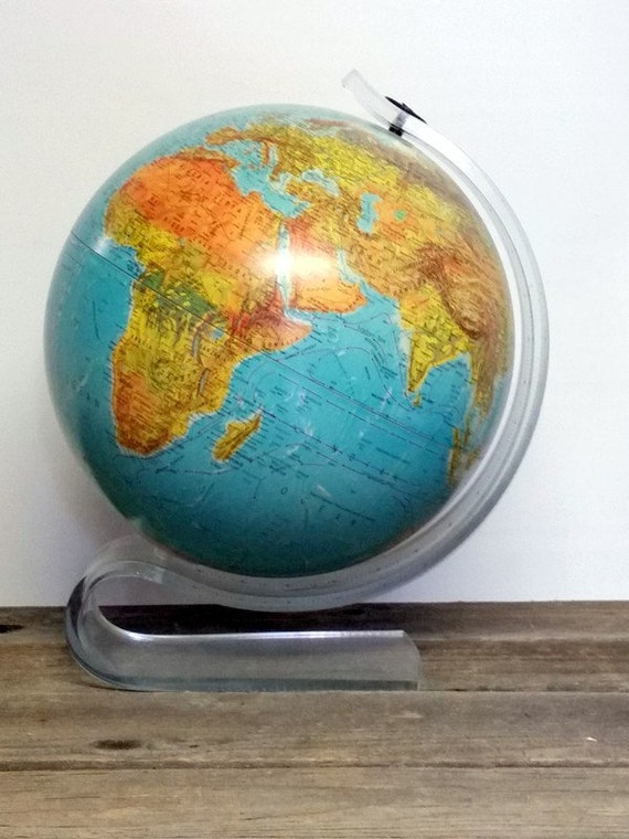 Vintage World Globe Mid Century Replogle World Horizon Globe Clear Acrylic Stand