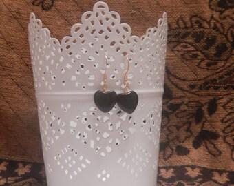 Black Onyx Heart Earrings in Gold