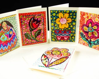 Printed Card Set, Set Of Five Greeting Cards, Whimsical Note Cards, Flower Cards, Gift For Women, Whimsical Flower Notes, by Paula DiLeo