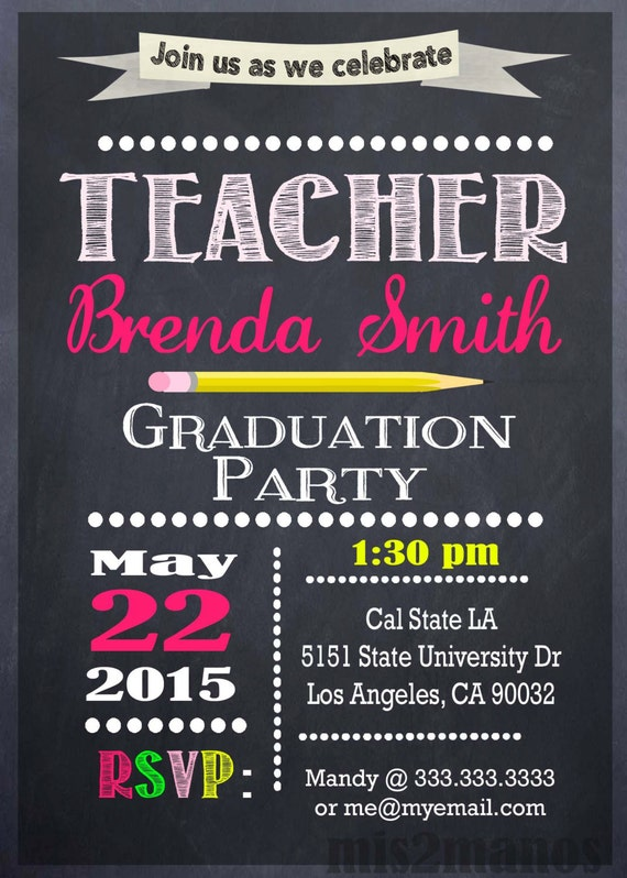Teacher Education Degree Graduation Invitation Personalized