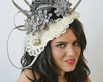 Dove,Lace,Gray,Fascinator,Derby,Loops,Crown,Hat,headpiece,High fashion,headpiece,headdress,