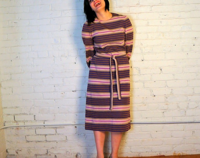 Striped Knit Dress 1960s Vintage Wool Retro Dress MEDIUM Designer Adele Martin Sweater Dress Earthy Brown Cream Purple Long Sleeve Dress USA