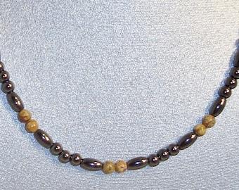 Magnetic Hematite Necklace Featuring Semi-precious Picture Jasper Beads