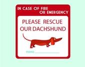 Dachshund Two Emergency Pet Rescue Decals FREE SHIPPING dog decal pet sticker fire safety pet rescue door sticker window sticker