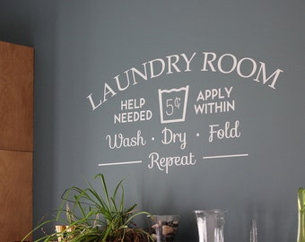 Laundry Room Help Needed Removable Vinyl Wall Art, laundry room wall art laundry room wall sticker wash dry washing machine drying clothes