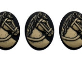3 Pieces Riding Horse Gothic Victorian Inspired Cameo Oval Flatback Antiqued Cream on Black 40x30 mm Resin Set Mythological Equine