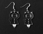 Lasercut Plexiglas® dolls earrings - matriochka - kokeshi - cat - kitten - sterling silver findings - minimalist - cute - contemporary