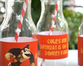 Donkey Kong DIY Printable Party Water Labels
