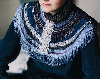 Ethnic Statement  Necklace One of a kind Collar Gypsy Winter Textile Jewelry Winter Jewelry Artist Gift Gift for Artists