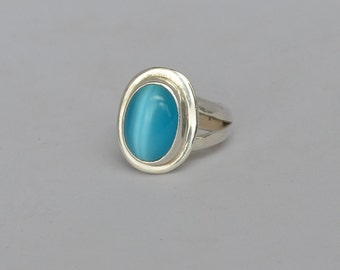 Vintage 925 Sterling Silver Ring Robin Egg Blue Cat's Eye Cabochon Size 6 1/2