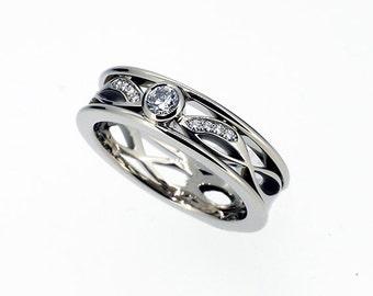 Diamond filigree engagement ring, white gold, rose gold, yellow gold, diamond wedding, lace ring, filigree wedding, diamond, unique, custom