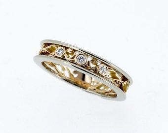 Filigree ring, Diamond ring, two tone, white gold, yellow gold, diamond wedding, thin, filigree wedding, Diamond band, wedding band