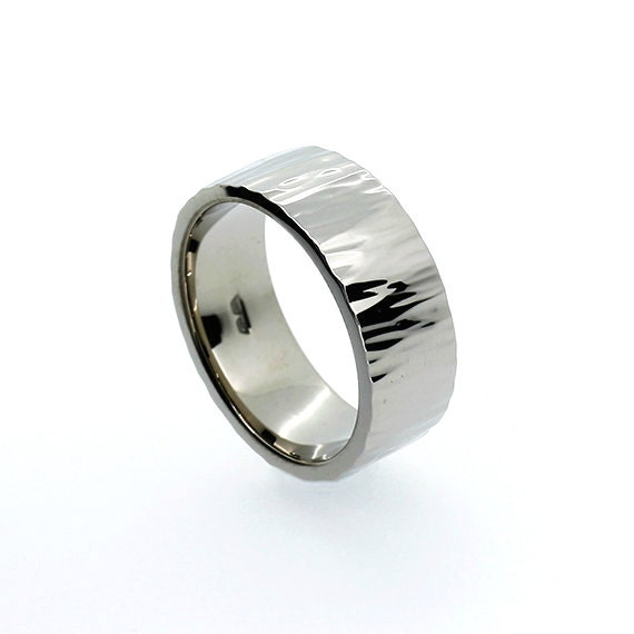 Hammered 950 Platinum Wedding Band Wide Ring By
