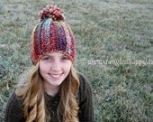 Instant Download - CROCHET HAT PATTERN Color Wool Beanie