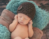 Baby Boy Hat Baby Girl Hat 0 to 3 Month Dark Brown Baby Hat Wood Button Beanie Photo Prop Photography Prop Baby Clothes Baby Clothing