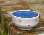 Lavender and Blue Bowl w/ Hearts - prep bowl, handmade pottery, stoneware - candy dish, small serving bowl, cereal bowl, ice cream bowl