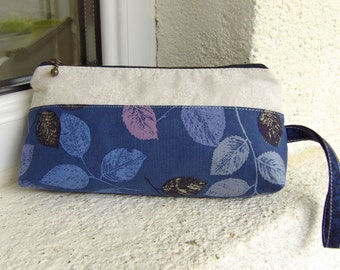 Reduced to clear -  Large zipper purse in navy and white. Leaf print zipper pouch. 8inch purse