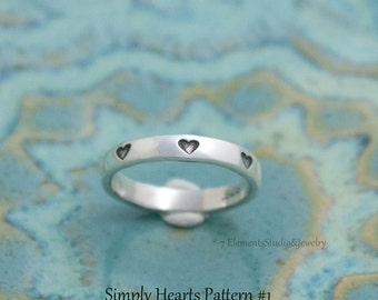 Simply Hearts Sterling Ring, Hand Stamped Silver Ring with Tiny Hearts, Valentine Ring