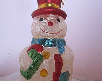 Vintage Glass Yellow Snowman Ornament Decoration