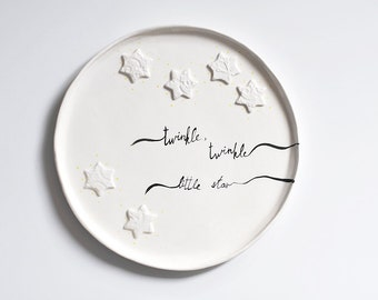 """white ceramic platter with lace stars texture wedding anniversary gift plates with inscription """"twinkle little star"""""""