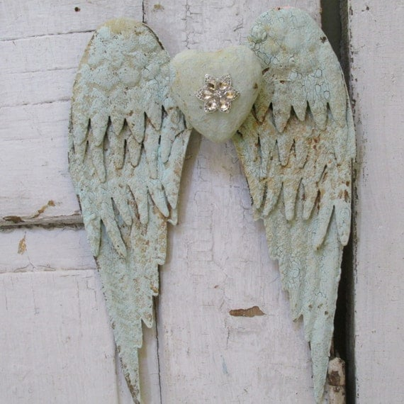 Distressed angel wings wall hanging home decor painted sea for Angel wings wall decoration