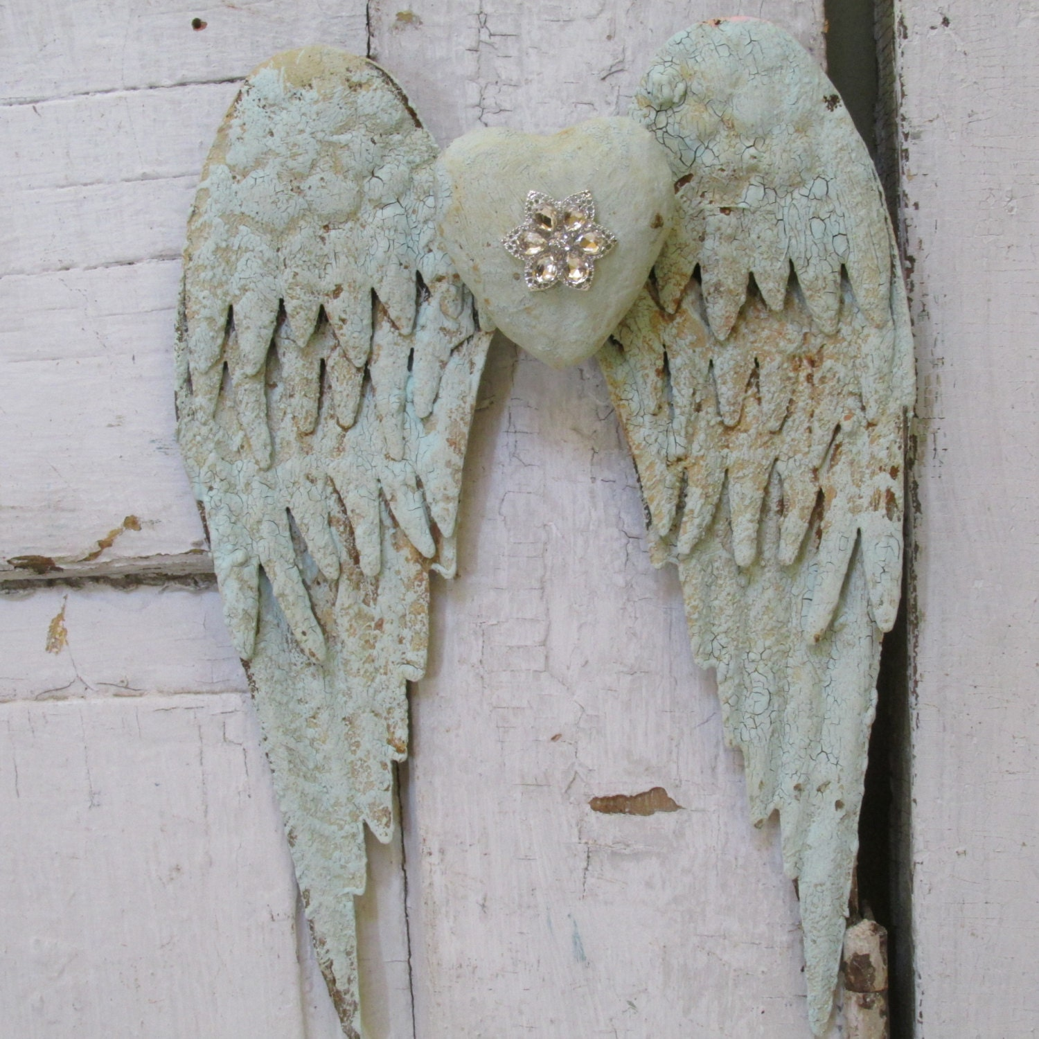 Distressed Angel Wings Wall Hanging Home Decor Painted Sea