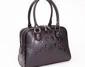 Black Leather Satchel, Black Handbag, Shoulder Bag with Baroque Pattern, Business Bag, Elegant Briefcase