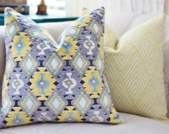 Yellow and Grey Pillow Cover - Modern Ikat Cut Velvet Gray and Aqua Throw Pillow - Aztec Pillow - Modern Geometric Pillow - Motif Pillows