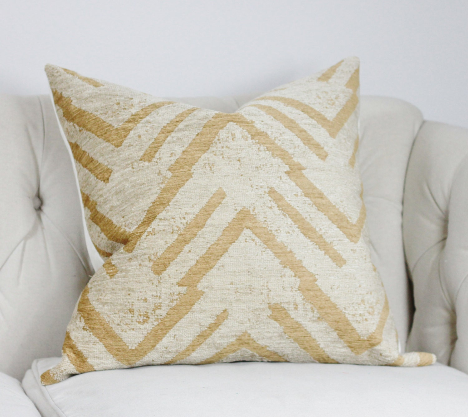 Throw Pillows Native American : Tan and Gray Geometric Pillow Neutral Zig Zag Throw Pillow
