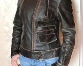 FREE SHIPPING LEATHER Cimarron Vintage Black Jacket Womens Rocker Jacket Cimarron Leather Jacket Bikers Leather Jacket Size M