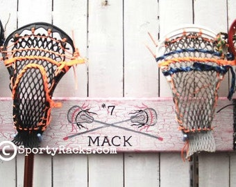 Girls Lacrosse Pink Lax Team 4 Stick Hanger Hook Holder Functional Furniture Sports Decor Colors Personalized Player Name Womens Sports